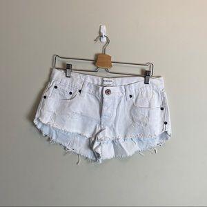 One Teaspoon White denim shorts